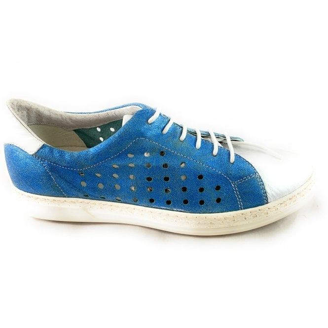 Aeros F761 Blue and Silver Leather Lace-Up Shoe