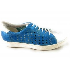 F761 Blue and Silver Leather Lace-Up Shoe