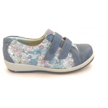 Fargo Blue Leather Floral Print Wide Fitting Shoes
