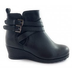 Farrow Black Leather Wedge Ankle Boot