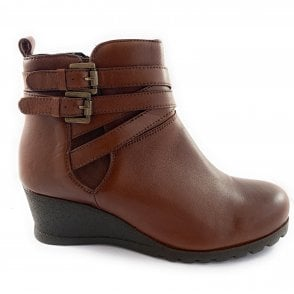 Farrow Tan Leather Wedge Ankle Boot