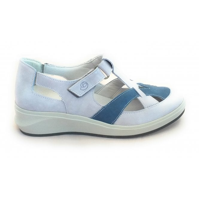 Suave Fenix Light Grey and Blue Leather Casual Shoe