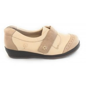 Fenwick Stone and Beige Leaher Wide Fitting Shoes