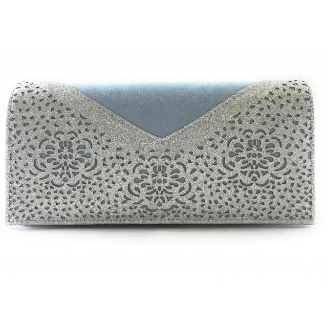 Lotus Fidda Blue and Silver Glitz Clutch Bag