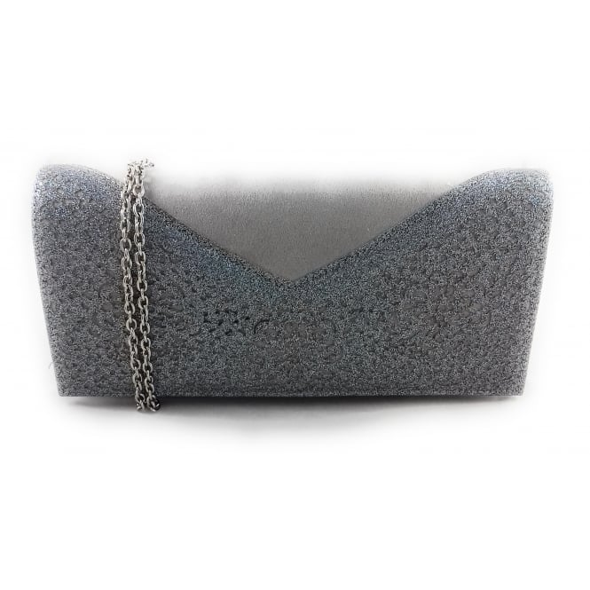 025274657 Lotus Fidda Grey and Pewter Glitz Clutch Bag - Lotus from size4footwear.com  UK