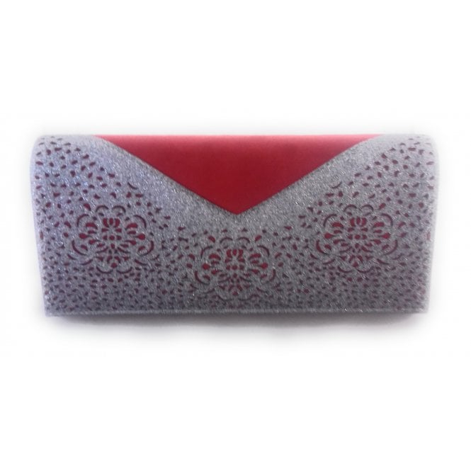 Lotus Fidda Red and Pewter Glitz Clutch Bag