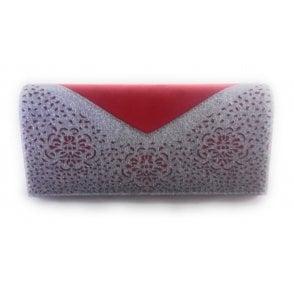 Fidda Red and Pewter Glitz Clutch Bag