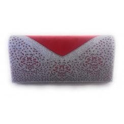 Fidda Red and Pewter Glitz Clutch Bag