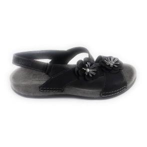 Fiji Black Leather Open-Toe Sandal