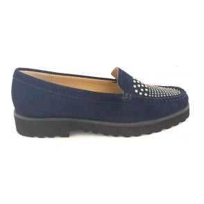 Filey Navy Nubuck Leather Loafers