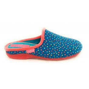 Fizz Blue Spotty Mule Slipper