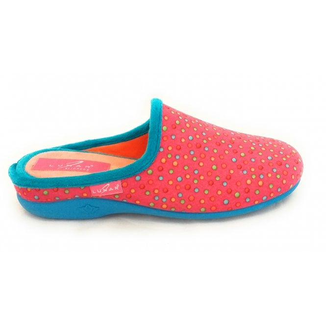 Lunar Fizz Pink Spotty Mule Slipper