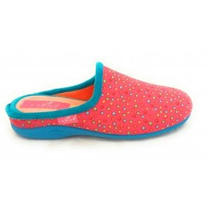 Fizz Pink Spotty Mule Slipper