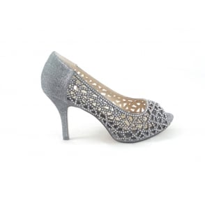 Flink Pewter Textile and Diamante Peep-Toe Court Shoe