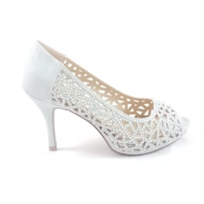 Flink Silver Textile and Diamante Peep-Toe Court Shoe