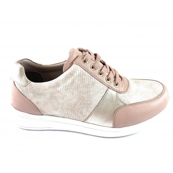 Lotus Florence Pink Leather Lace-Up Casual Shoe