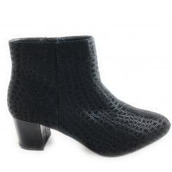 Flute Black Heeled Ankle Boot
