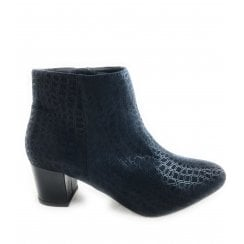 Flute Navy Print  Ankle Boot