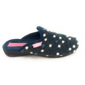 Foam Blue Felt Mule Slipper
