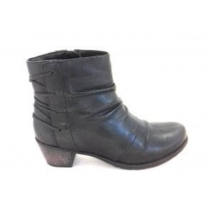 Fortune Black Leather Heeled Ankle Boot