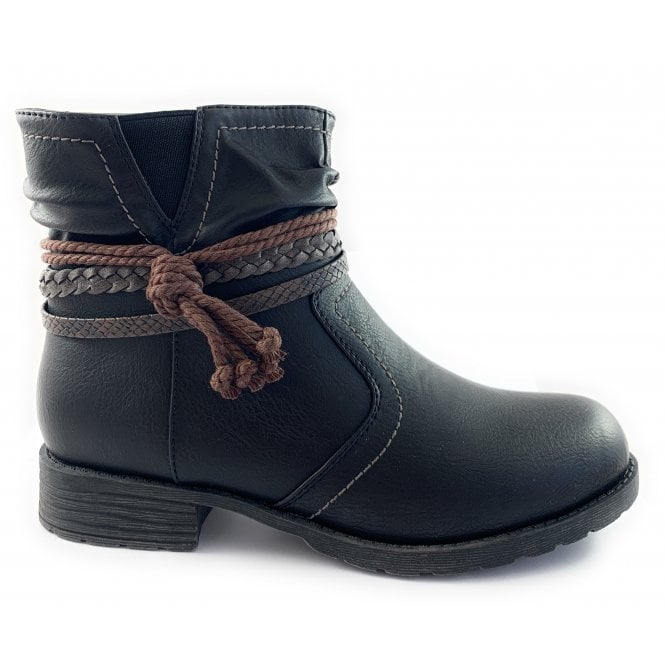 Lotus Francina Black Casual Ankle Boot