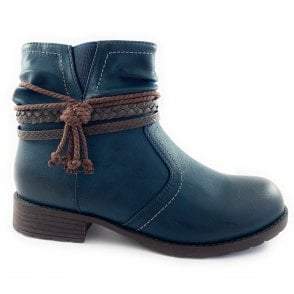 Francina Navy Casual Ankle Boot
