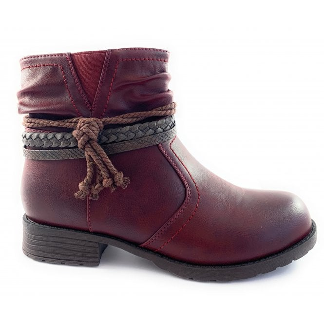 Lotus Francina Red Casual Ankle Boot