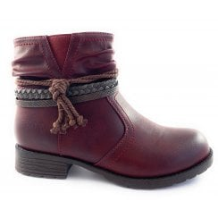 Francina Red Casual Ankle Boot