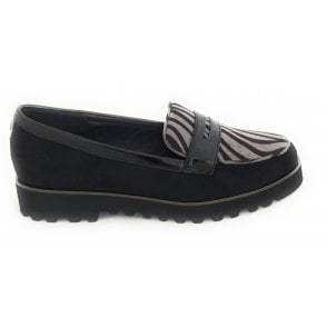 Frankie Black and Zebra Print Loafers