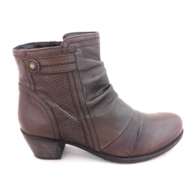 Lotus Frazetta Brown Leather Heeled Ankle Boot