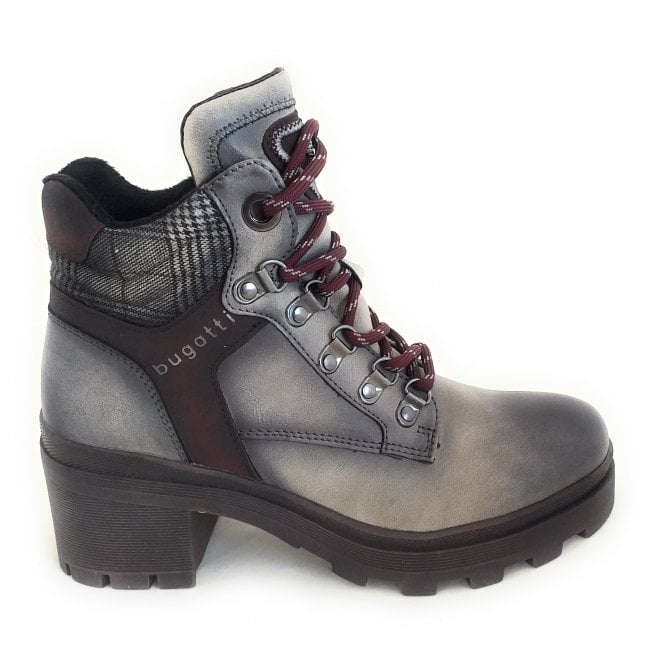Bugatti Frieda Grey Faux Leather Lace-Up Boots