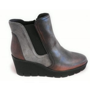G161 Bronze Leather and Suede Wedge Ankle Boot