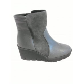 G170 Grey Leather and Suede Wedge Ankle Boot