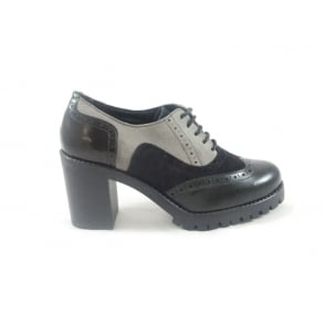 G271 Kisha Black Multi Leather Lace-Up Brogue with Heel