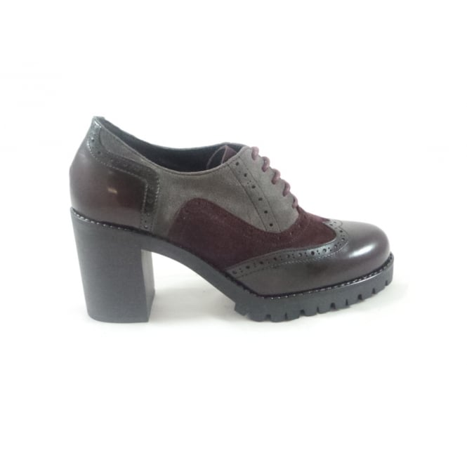 G271 Kisha Bordo Multi Leather Lace-Up Brogue with Heel