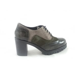G271 Kisha Grey Multi Leather Lace-Up Brogue with Heel