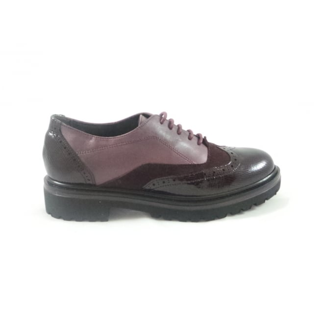 Aeros G346 Marion Burgundy Nubuck and Patent Ladies Brogue