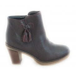 G383 Bordo Leather Heeled Ankle Boot