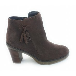 G383 Brown Suede Heeled Ankle Boot