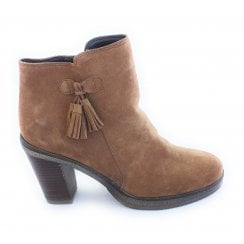 G383 Tan Suede Heeled Ankle Boot