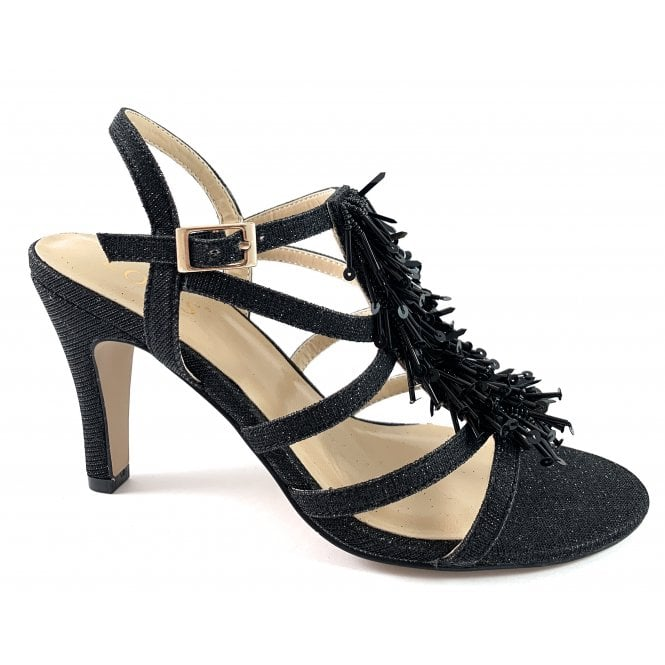 Lotus Gabrielle Black Shimmer Sandal