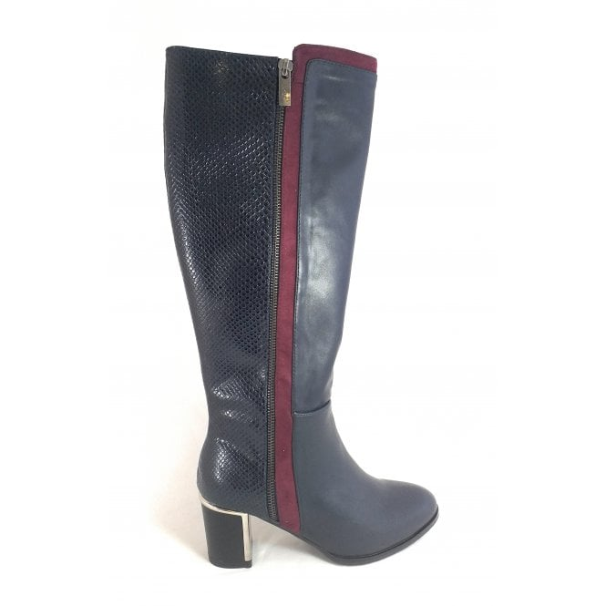 Lotus Gabrielle Navy and Bordo Knee High Boots