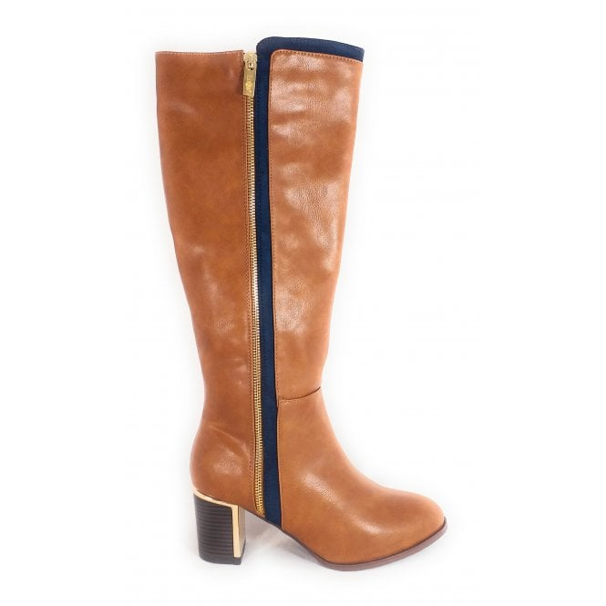 Lotus Gabrielle Tan and Navy Knee High Boots