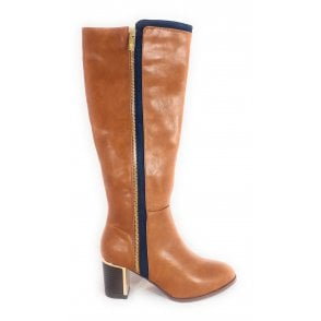 Gabrielle Tan and Navy Knee High Boots