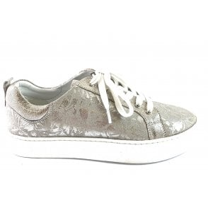 Garda Silver Floral Leather Lace-Up Casual Shoe
