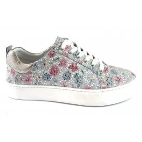 Garda White Multi Floral Leather Lace-Up Casual Shoe