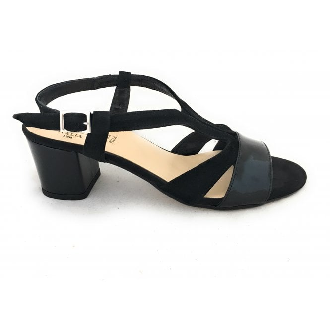 38d30d2cd19 HB Giappone Black Suede and Patent Sandal - HB from size4footwear.com UK