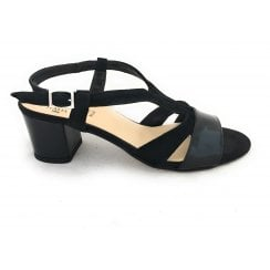 Giappone Black Suede and Patent Sandal