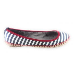 GiGi Navy and White Stripe Espadrille Pump