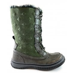 Gillian Grey and Green Mid-Calf Lace-Up Boot